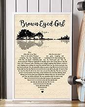 Trendora Decor Brown Eyed Girl Song Lyrics Guitar Heart Portrait Poster Print (16