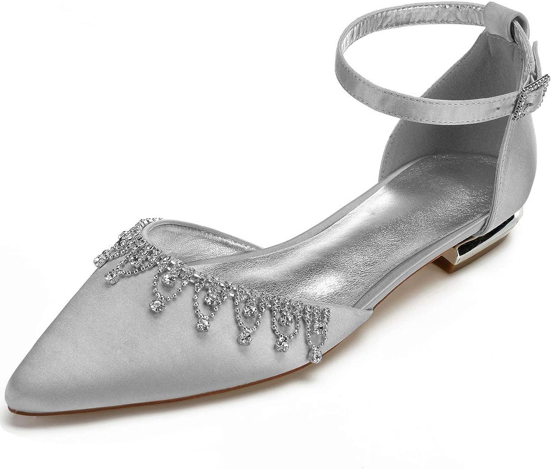 SERAPH 5047-39 Frauen Knchelriemen Ballerinas Spitz Satin Strass Hochzeit Abend Flache Schuhe