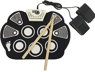Electronic Drum Kit Midi, silicio plegable hijos de instrumentos musicales rollo de la mano bastidor la batería Roll Up Drum Pad Kit pedales Palillos mejor regalo para el cumpleaños de vacaciones