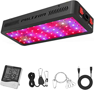 Phlizon Newest 600W LED Plant Grow Light,with Thermometer Humidity Monitor,with Adjustable Rope,Full Spectrum Double Switc...