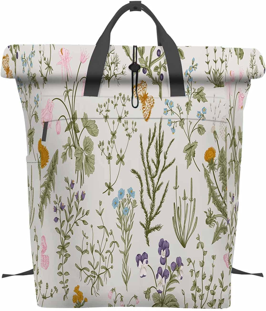 Beabes Spring new work one after another Floral Inexpensive Pattern Portable Backpack Herbs Wild And F Vintage