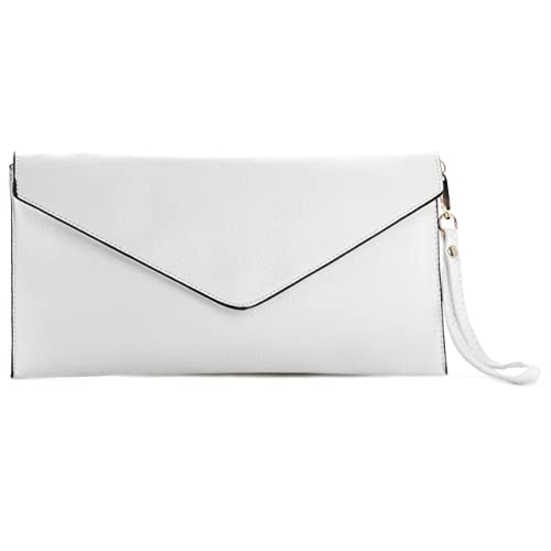0d65b203495 Big Handbag Shop Womens Plain Vegan Leather Envelope Wristlet Clutch  Messenger Crossbody Shoulder Bag