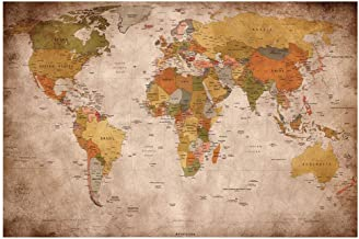World Map Tapestry Abstract Map Wall Hanging Art for Home Headboard Bedroom Living Room Dorm Decor in 39x60 Inches