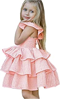 Girl's Dress Infant Girls Plaid Print Cake Backless Tutu Princess Dresses for 24-36 Month Baby Girl