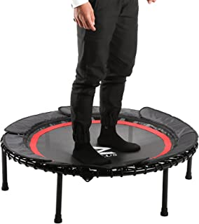 ZELUS 40 Inches Foldable Mini Trampoline Bungee Rebounder Trampoline for Adults and Kids with Safety Bungee Cover and Textured Jump Mat, Safety and Minimal Assembly