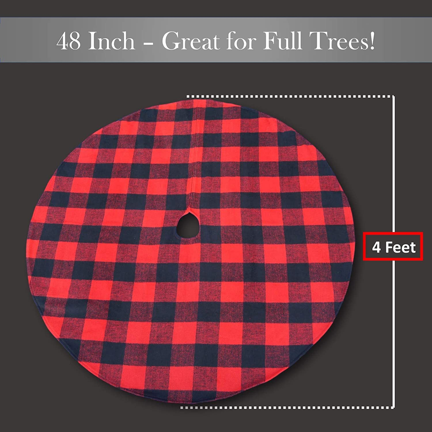 ATLIN Buffalo Plaid Christmas Tree Skirt Machine Wash and Dry Larger 3 Inch Red and Black Checks for a Traditional Look 3 ft and 4 ft Diameter Options