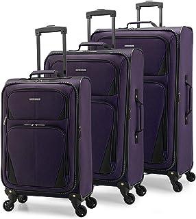 U.S. Traveler Aviron Bay Expandable Softside Luggage with Spinner Wheels, Purple, 3-Piece Set