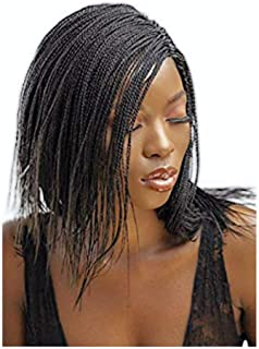 JBG SERVICES Authentic African Braided Wigs - Micro Twist Wig for African American Women - Lace Closure for Natural-Look Hairline - 2 Hair Pins Included - 12 Inch, Dark Brown Color 2