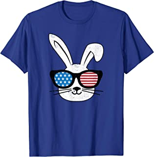 Rabbit With Glasses Bunny American Easter Funny Tshirt