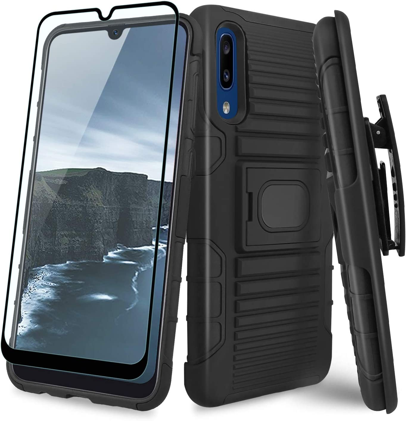 TJS Phone Case Compatible with Samsung Galaxy A20/Galaxy A30, [Full Coverage Tempered Glass Screen Protector] Belt Clip Holster Resistant Magnetic Support Hybrid Kickstand Heavy Duty Cover (Black)