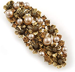 Avalaya Vintage Inspired Caramel Faux Pearl, Topaz Crystal Floral Barrette Hair Clip Grip in Aged Gold Tone Finish - 85mm ...