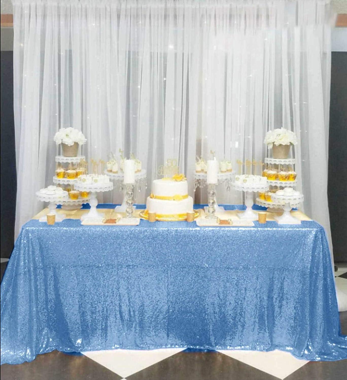 DUOBAO Overseas parallel import regular item Baby Blue-60x102-Inch Sequin Dr Over item handling Tablecloth Popular Bridal