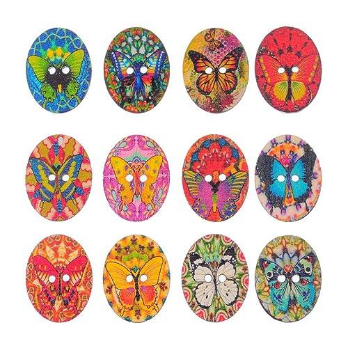 Souarts Mixte Forme de Oeuf de Paques 2 Trous Boutons en Bois Motif Papillon Lot de 50pcs