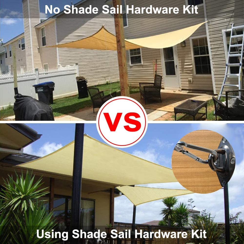 GoosWexmzl Shade Sail Hardware Kit 6 inch for Triangle Rectangle Square Sun Shade Sail Installation for Patio Lawn 40 Pcs