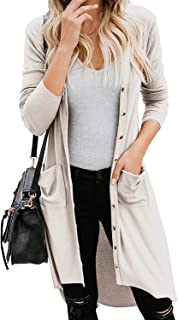 TECREW Women's Open Front Cardigan Buttons Down High Low Maxi Long Knit Sweater with Pockets
