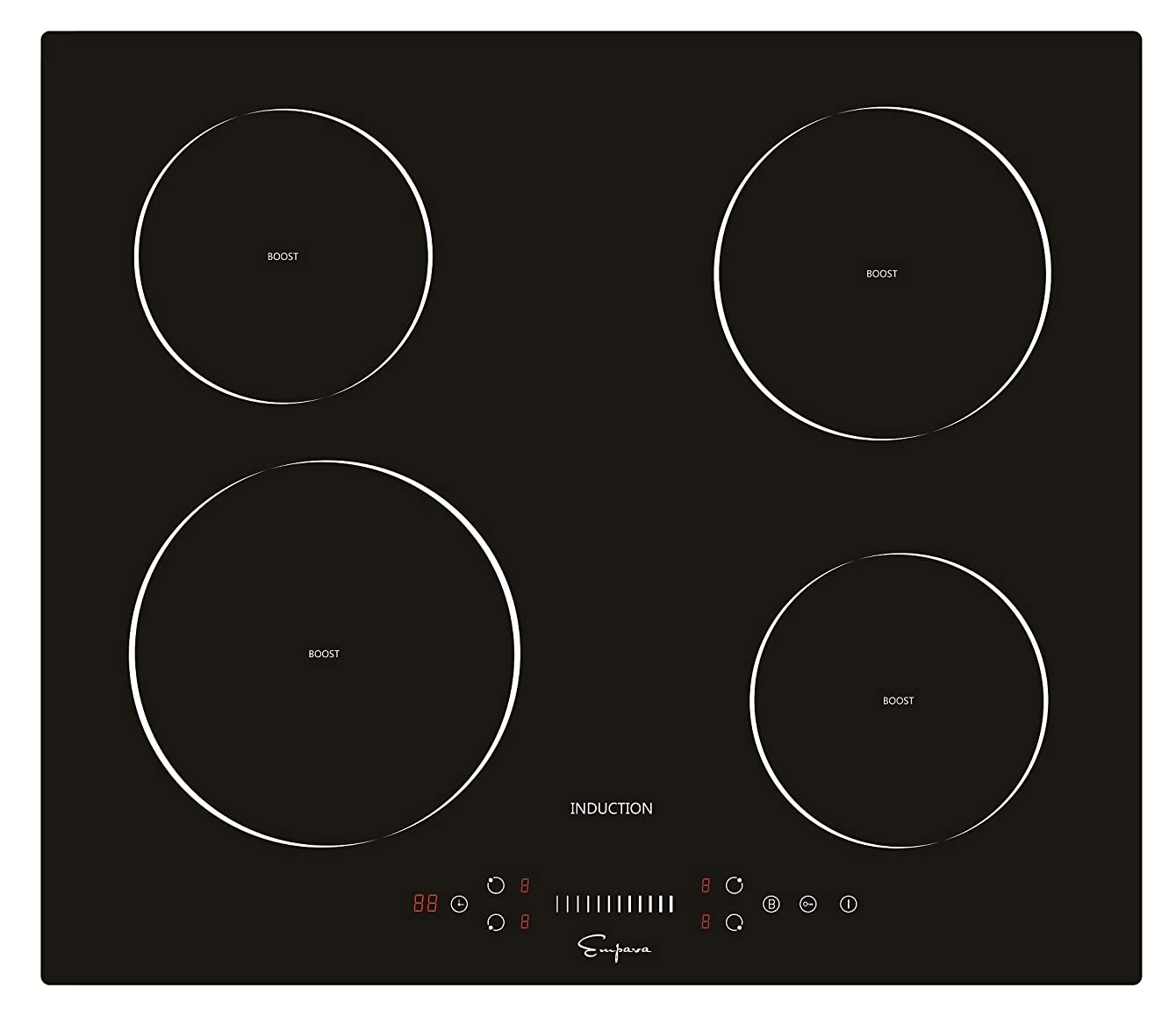 Empava EMPV-IDC24 Electric Induction Cooktop with 4 Booster Burners Smooth Surface Black Tempered Glass, 24 Inch ohyhfduihrhop63