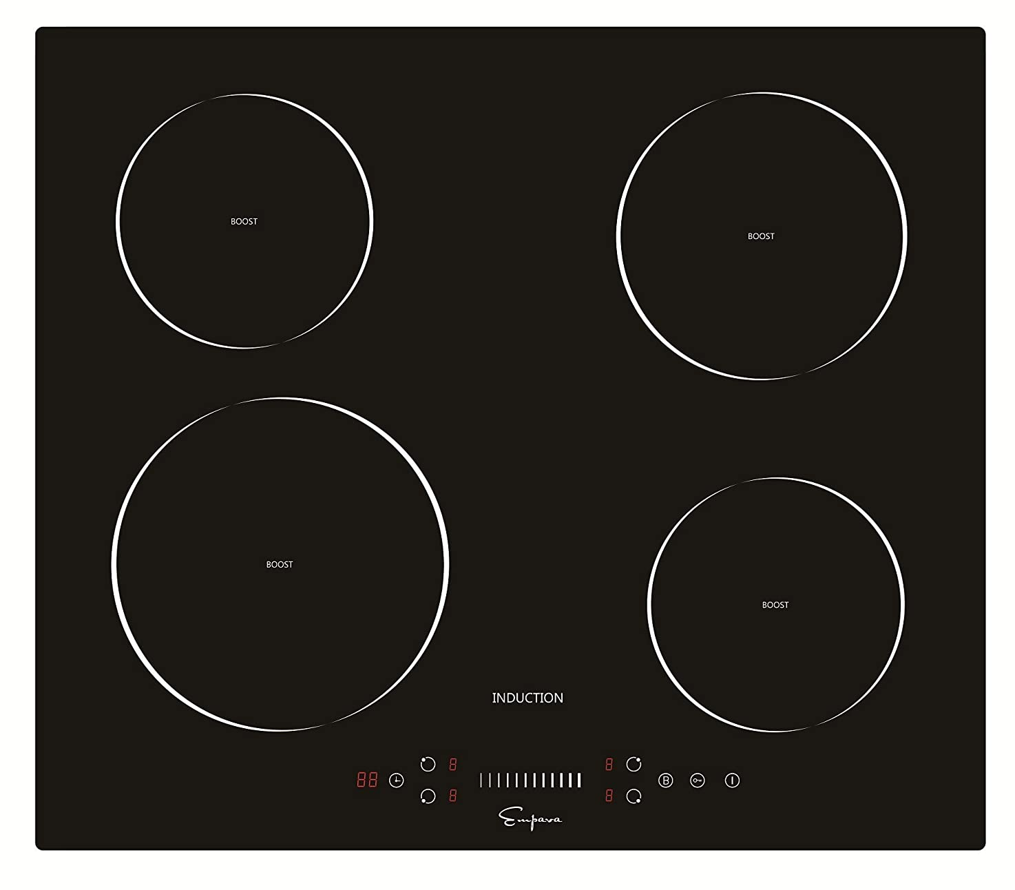 Empava EMPV-IDC24 Electric Induction Cooktop with 4 Booster Burners Smooth Surface Black Tempered Glass, 24 Inch inwaexqsoxzge3