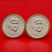 US 2007 Presidential Dollar BU Uncirculated Coin Gold Plated Cufflinks NEW - Thomas Jefferson (1801~1809 Years Served)