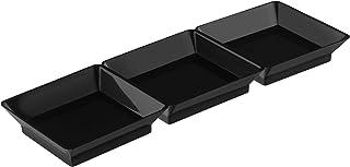 Majestic Settings Mini-Ware Black Plastic Dishes Heavy Duty Plastic Mini Plastic Appetizer/Dessert Dishes (Mini 3 Section ...