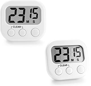 Kitchen Timer Digital   2Pack White   for Exercise, Baking, Cooking, Grilling   Magnetic Backing   Loud Audible Alarm   Large LCD Display   Countdown Timer for Kids, Teachers, Classroom
