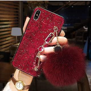 Galaxy S10 Plus Bracelet Fur Ball Case, Luxury Stylish DIY Handmade Fluffy Fuzzy Pompom Plush Hairball Diamond Rhinestone Hand Chain Strap Holder Hard PC Phone Case for Samsung S10 Plus