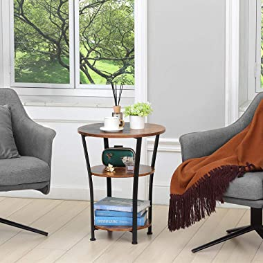 Dulcii Industrial End Table, 3 Tiers Round Side Table with Sturdy Metal Frame, Metal Round Sofa Table, Vintage Nightstand for