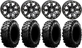 STI HD4 20 Wheels Black 33 MotoHavok Tires 9 Items Bundle 4x156 Bolt Pattern 12mmx1.5 Lug Kit