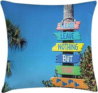 4 Piezas 18X18 Pulgadas Funda De Cojín De Almohada De Playa De Florida,No Deje Nada Más Que Sus Pasos Cartel Colorido En Un Tronco De Árbol De Madera,Funda De Almohada Decorativa Cuadrada
