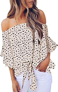 CILKOO Women's Off Shoulder Bell Sleeve Shirt Tie Knot Casual Blouses Tops(S-XXL)