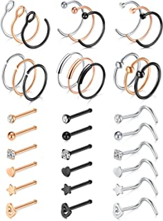 Anicina Nose Rings Hoop 20G Stainless Steel Nose Rings Studs Piercing Jewelry CZ Inlaid Nose Hoop Ring Nose Stud
