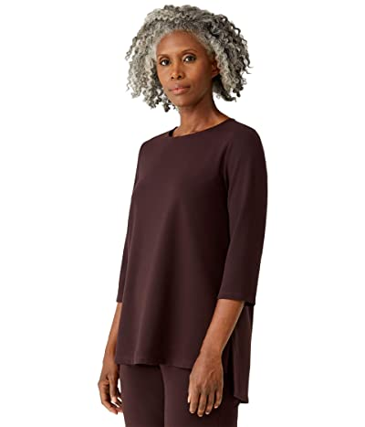Eileen Fisher Jewel Neck 3/4 Sleeve Top (Cassis) Women