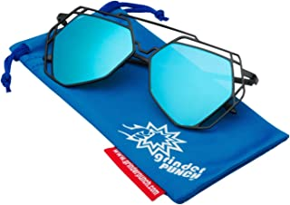 6815c27daf3 grinderPUNCH Women s Mirrored Heptagon Flat Lens Sunglasses