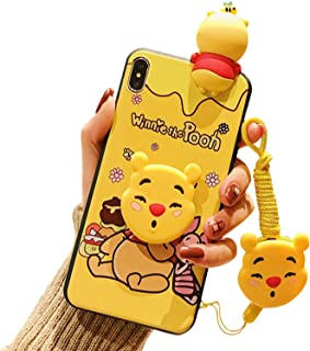 iPhone XR Case,Yellow Eating Honey Winnie Bear Case for XR,Soft 3D Silicone Case, Cute Cartoon Kawaii Animal Character Protective Cover for Kids Girls for Apple iPhone XR 6.1