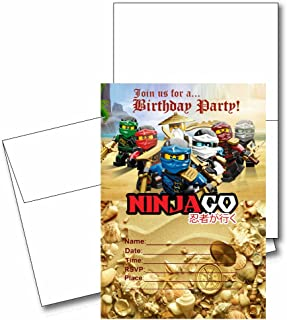12 NINJAGO Birthday Invitation Cards (12 White Envelops Included) #1