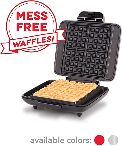 DASH No Drip Belgian Waffle Maker Waffle Iron 1200W Waffle Maker Machine For Waffles Hash Browns Or Any Breakfast Lunch Snacks With Easy Clean Non Stick Mess Free Sides Silver