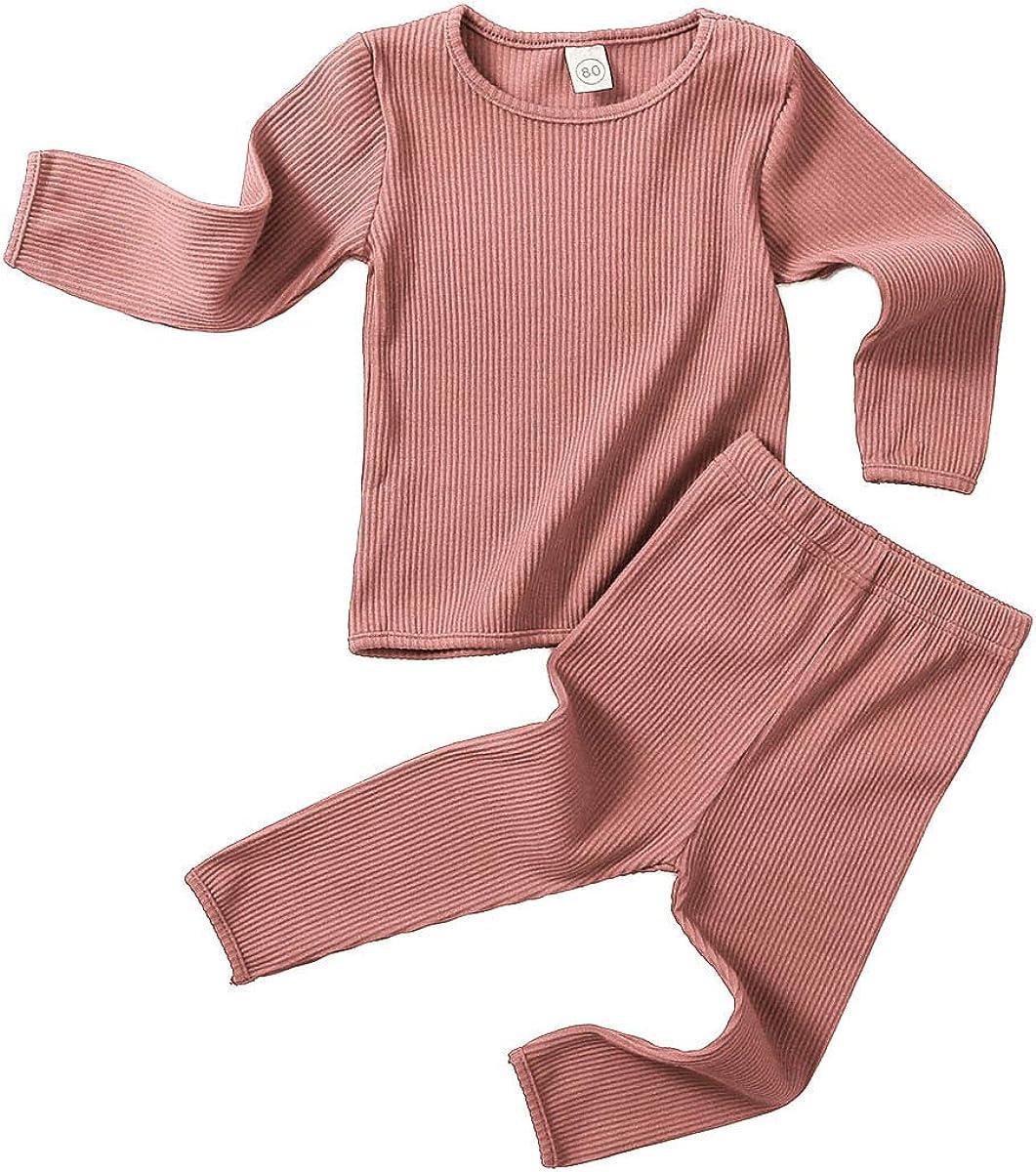 Baby Kids Boy Girl Clothes Pajamas Long Sleeve Spring Sweatsuit Sleepwear Tops + Pants Set Coffee