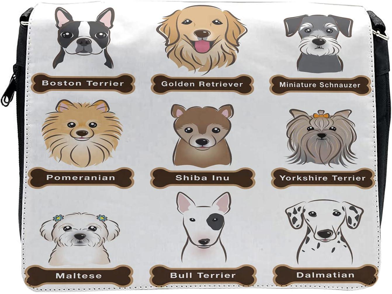 Ambesonne Animal Cross Body Messenger Bag, Boston Terrier Dogs, Unisex