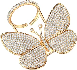 14fccdea9 Butterfly Rings for Women - Cubic Zirconia Rings Can Adjustable Finger Size  and Moving Wings 18K