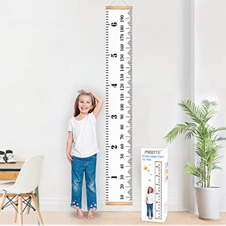 "MIBOTE Baby Growth Chart Handing Ruler Wall Decor for Kids, Canvas Removable Growth Height Chart 79"" x 7.9"""
