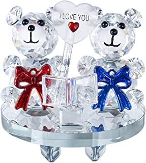 H&D HYALINE & DORA Crystal Love Baby Bear Figurine Collection Animal Paperweight Table Centerpiece (No.2)