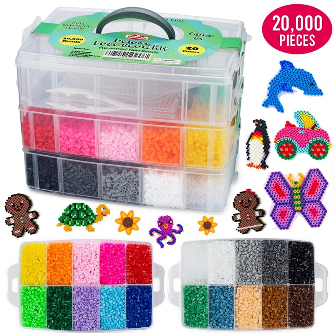 20,000 Deluxe Fuse Bead Kit Including 6 Peg Boards, Transparent Ironing Sheets, Tweezers and Case - Fuse Beads Compatible with Perler Beads
