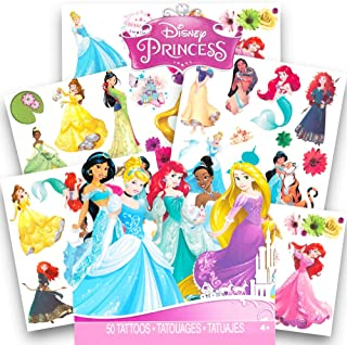 Disney Princess Tattoos - 50 Assorted Temporary Tattoos ~ Cinderella, Ariel, Belle, and More!