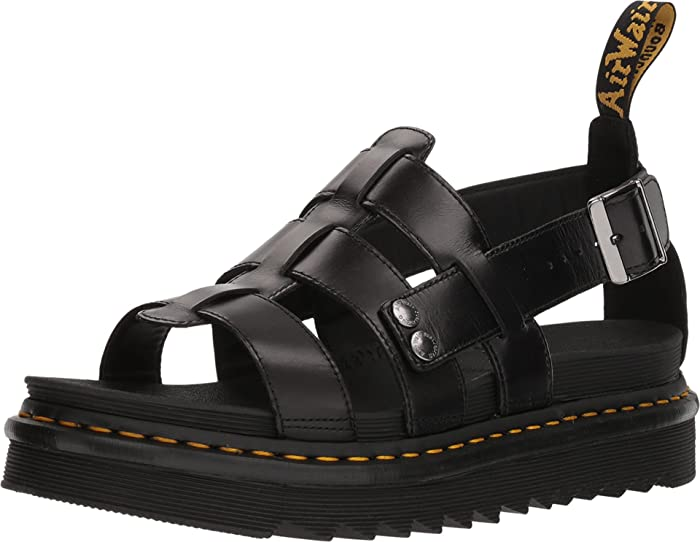 Dr. Martens Terry Leather Strap Sandals in Black Brando Leather