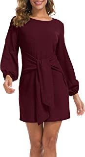 Women's Elegant Long Sleeve Dress Casual Tie Waist...