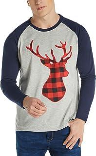 MODCHOK Men's Christmas Raglan Shirt Plaid Deer Baseball T-Shirt Crewneck Casual Tee Tops 1Navy L