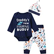 3PCS Baby Boys' Daddy's New Fishing Buddy Outfit Set Long Sleeve Bodysuit (Blue01, 0-3 Months)