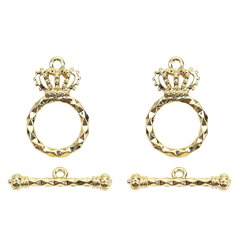 Monrocco 5 Sets Gold Plated Crown Toggle Clasp Sets Bead Connectors Findings