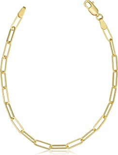 "Pori Jewelers 14K Solid Yellow Gold 3MM, 4.5MM, or 5MM Paperclip Chain Necklace, Anklet and Bracelet - Sizes 7""-30"""