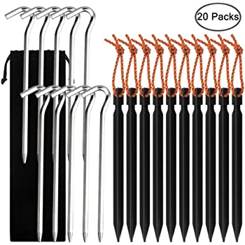 Set de 10 Clavijas de estacas para Tiendas de campa/ña de aleaci/ón de Aluminio Ultraligero Resistente u/ñas Cuerdas Reflectantes con Tensor para Monta/ñismo #001 MUUZONING Camping Tent Pegs Stakes
