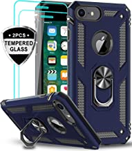 LeYi iPhone 8 Case, iPhone 7 Case, iPhone 6s/ 6 Case with Tempered Glass Screen Protector [2Pack], Military Grade Protective Phone Case with Ring Car Mount Kickstand for Apple iPhone 6/ 6s/ 7/8, Blue